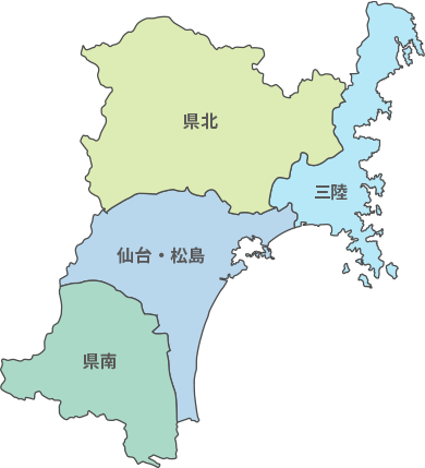 宮城県の地図